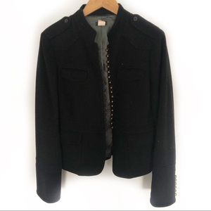 J.Crew Black Wool Blend Military Blazer